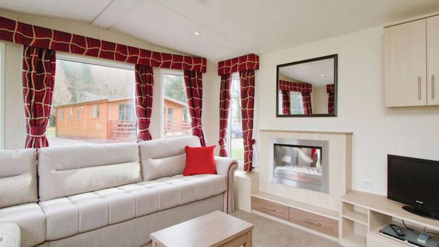 Voorbeeld woonkamer 3-kamerstacaravan Loch Awe Holiday Park