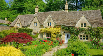 Cotswolds, Bibury - traditionele stenen cottages
