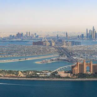 Dubai skyline en The Palm Jumeirah