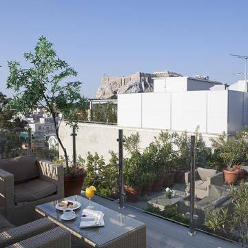 Uitzicht van dakterras Hermes Hotel