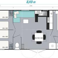 3-kamer stacaravan Comfort Deluxe - plattegrond