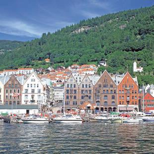 Sfeer Noorwegen aanzicht huizen