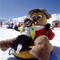 Murmli de mascotte in het skigebied