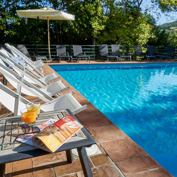 Zwembad met ligstoelen Park Hotel Chianti