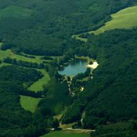 vue aérienne camping lac de lislebonne