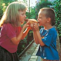 Kinderen met Rostbratwurst