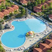 Voorbeeld zwembad bij bungalows type Oleandro