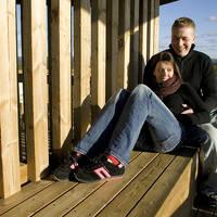 Stel op houten bank