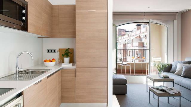 Keuken en woonkamer 2-kamerappartement (max. 4 personen) Appartementen Eric Vökel Gran Via Suites