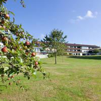 Aanzicht hotel met tuin