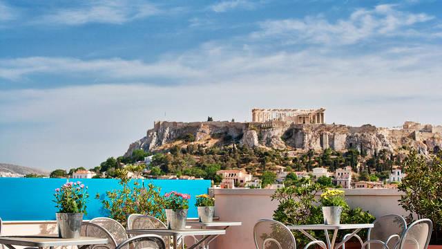 Dakterras uitzicht Hotel Arion Athens