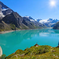 Reservoir Mooserboden embedded in the impressive mountains of the Hohe Tauern near Kaprun. 281789968