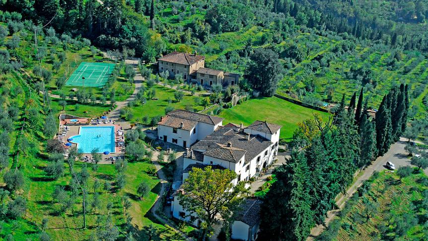 bovenaanzicht Villa Grassina