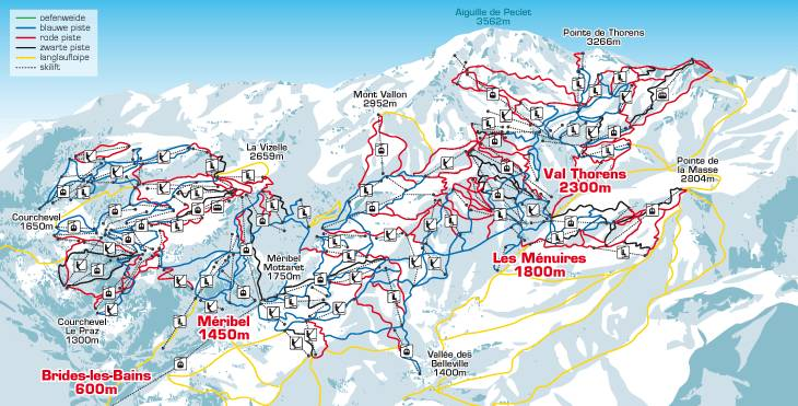 Trois vallees piste map
