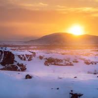Landschap met zonsopgang