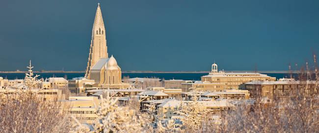 Reykjavik sneeuwpanorama