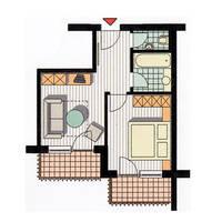 Voorbeeld plattegrond Suite Lazid