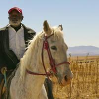 Oude Basotho man op een paard, koninkrijk Lesotho